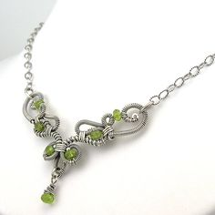 Peridot Gemstone Wirework Necklace HandForged by OzmayDesigns