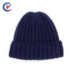 2017 New arrival Hot Classical women blue Knitted hat High quality Warm thicken wool Knitting cap Winter edgefold caps #x27