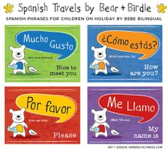 Kids Spanish Travel Phrases by Bear and Birdie of BebeBilingual, $14.99