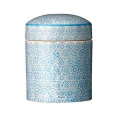 """Zdobiony słoik """"Izabela"""" z pokrywką (niebieskie wzorki) Bloomingville"""