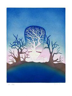 Folon Jean Michel : Gravure eau-forte aquatinte : La naissance Art Quotidien, Art Français, Magic Art, Magritte, Art Graphique, Psychedelic Art, Gravure, Ciel, Digital Image