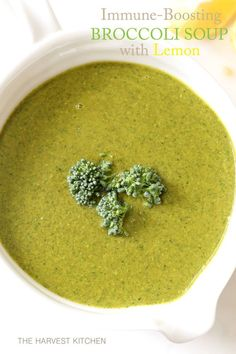 from The Harvest Kitchen / this Immune Boosting Broccoli Soup is loaded with broccoli, spinach, kale and lemon and packs a big nutritional punch. Comes together in under 30 minutes. It's a simple way (Healthy Recipes Broccoli) Healthy Recipes, Detox Recipes, Vegetarian Recipes, Vitamix Soup Recipes, Smoothie Recipes, Broccoli Soup Recipes, Spinach Soup, Pureed Vegetable Soup Recipe, Brocoli Soup