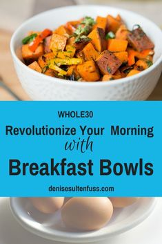 There is a breakfast revolution erupting in kitchens across America. Let me help you reboot your a. meal routine with real food breakfast bowls.Breakfast bowls filled with nutrient-dense foods are rapidly replacing cereal bowls in many kitchens. Whole 30 Breakfast, Breakfast Menu, Breakfast Bowls, Breakfast Ideas, Clean Recipes, New Recipes, Real Food Recipes, Homemade Breakfast, Healthy Breakfast Recipes