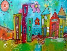 I love Jodi Ohl and her work! Funky Little City Scapes Beginner by Jodi Ohl - iCreateFlix.com