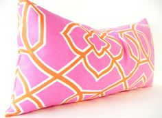 CUSTOM Pink and Orange Pillow Cover, Pink Orange Cushion, Small rectangular lumbar pillows, modern, geometric, square pillows, large, long