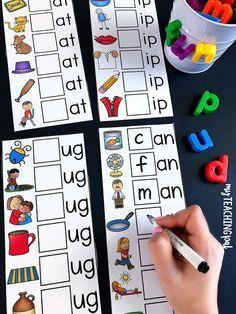 CVC Centers – Short Vowels (Volume One) - webkampus E Learning, Teaching Phonics, Homeschool Kindergarten, Preschool Learning Activities, Alphabet Activities, Teaching Kids, Word Family Activities, Kindergarten Letter Activities, Kindergarten Sight Words
