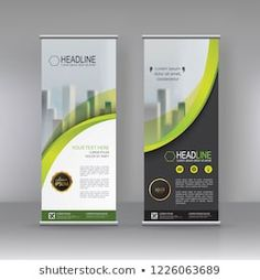 Green Vertical banner stand brochure flyer template design, covers ,infographics ,vector abstract geometric background, modern x-banner and flag-banner advertising design element Pull Up Banner Design, Standing Banner Design, Pop Up Banner, Roll Up Design, Graphic Design Flyer, Brochure Design, Flyer Design, Ci Design, Layout Design