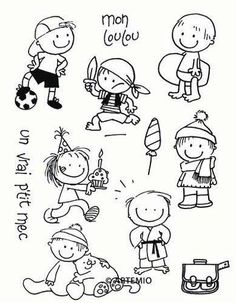 Doodle Drawings, Cartoon Drawings, Easy Drawings, Les Doodle, Doodle Art, Drawing For Kids, Art For Kids, Doodle People, Stick Figure Drawing