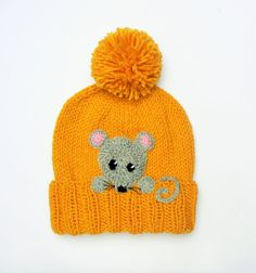 Knit Kids Fall Winter Hat, Girls Boys Pom Pom Hat with Mouse, Child Teen Winter Fashion, Mouse Beanie, Yellow Gray, Made to order