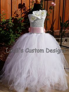 "Soft White Rose Tulle Flower Girl Dress up to age 6 years or a 23"" chest measurement. Custom Half Slip liner optional.. $85.00, via Etsy."