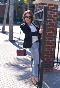 When you're not quite ready to give up your weekend, grab your favorite, most comfy jeans and pair them with a blouse and blazer.  #mamabsays #jackets #shopstylecollective #myshopstyle