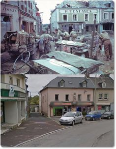 Marigny Normandia then and now Normandy Ww2, Then And Now Photos, D Day Landings, Foto Poster, War Photography, World War One, Historical Pictures, History Facts, World History