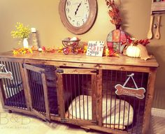 Indoor dog furniture meets fall decor! Love what they did with their pups new home! Order yours today at https://bbkustomkennels.com