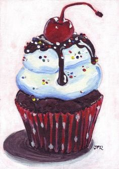 Cupcake Painting Print - Ice Cream Sundae Cupcake Art Print -  5x7  This painting features a delicious ice cream sundae cupcake, with hot fudge and a cherry on top.The original was done on an acrylic