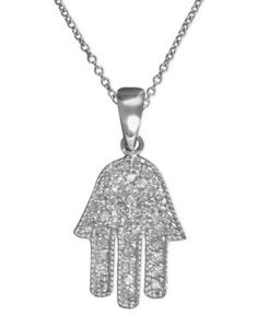 Effy Diamond Hamsa Pendant (1/4 ct. t.w.) in 14k White Gold