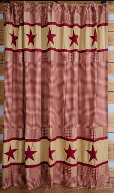 Burgundy and Tan Star Shower Curtain by Olivias Heartland Country Bathroom Decor Primitive Shower Curtains, Primitive Bathroom Decor, Primitive Bedroom, Primitive Kitchen, Primitive Furniture, Country Primitive, Country Furniture, Primitive Pillows, Primitive Antiques