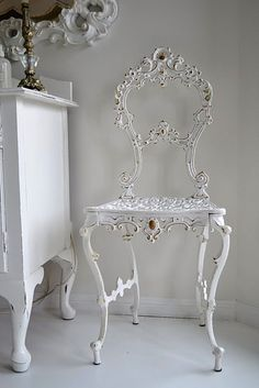 Painted Antique Iron Chair from PaintMeWhite.com