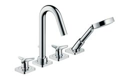 4-Hole rim-mounted bath mixer with star handles and escutcheons