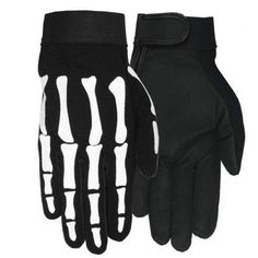 Skeleton Bones Biker Mechanic Gloves (Medium). Synthetic material. The inner hand is fabricated with special soft material to improve the grip. Vents to improve air flow. Soft inner lining. Seasons: Spring / Summer / Autumn.