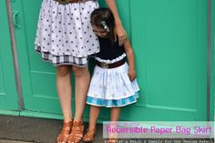 How to sew a women's and little girl's reversible paper bag skirt tutorial, with mismatched elastic waistband and layered outer-skirt.