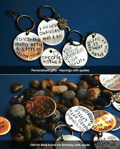 Personalised Keyrings, Gift Ideas, Boyfriend/Girlfriend Gift Quotes,   #handstamped #handmade #customized #keyring #giftideas #giftsuk #etsyuk #etsylondon #uk #london
