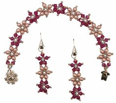 Deb Roberti's Crystal Flower Pattern Collection Beading Tutorials, Beading Projects, Crystal Flower, Seed Beads, Flower Bracelet, Bracelet Designs, Drop Earrings, Jewerly, Crystals