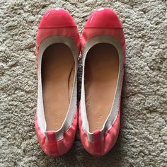 J. Crew flats NWOT sz 10 Peach and neon coral.  Genuine leather.  Brand new!!  Price was marked on bottom of shoe.  No biggie since it will wear off  J. Crew Shoes Flats & Loafers