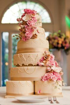 Romantic Wedding cake with sugar flowers