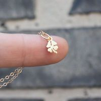 Clover necklace - 24K gold-dipped sterling silver four leaf clover charm .
