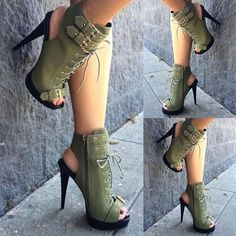 Lace-up Zippered Thin High-heeled Sandals