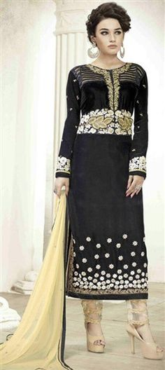 454892 Black and Grey  color family Party Wear Salwar Kameez in Velvet fabric with Machine Embroidery, Resham, Thread, Zari work .