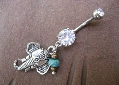 Elephant Belly Button Ring- Turquoise Charm Dangle Navel Piercing Bar Jewelry Barbell. $15.00, via Etsy.