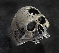 Skull Ring,Half Jaw, Mens Silver Skull Ring, Biker ring, Rocker ring, Goth ring, Custom Sterling Silver Skull Ring,.925 -- Click image to review more details.