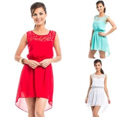 Lace Contrast HiLo Chiffon Dress only $8.50
