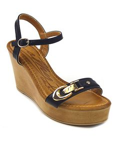 Loving this Black Buckle Alison Wedge Sandal on #zulily! #zulilyfinds