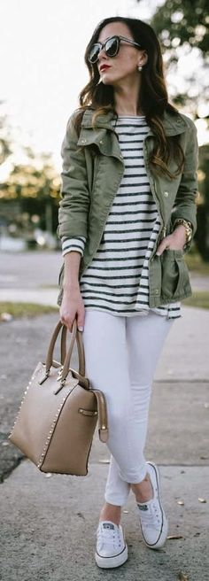 Utility Jacket On Stripes Outfit by Sequins & Things. Such a great casual look for winter to spring fashion. I love black and white  stripes with olive.