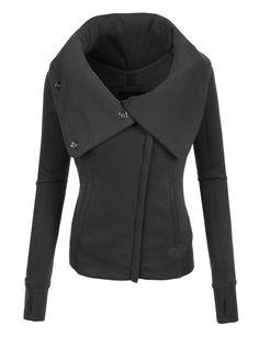 Womens Cowl Neck Zip Up Fleece Jacket with Thumb Hole