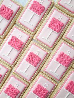 Pink Cake Pedestal Birthday Cookies One Dozen von thesweetesttiers