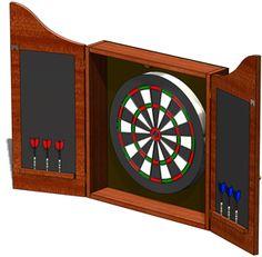 The Cavalier Dart Board Cabinet In Set In An Mocha Finish