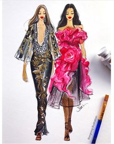 Fashion Illustration of Marchesa fashion by Rongrong DeVoe during NYFW.JPG