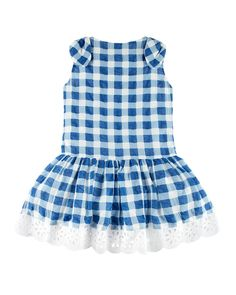 6ca68fba3 Neiman Marcus Pili Carrera Gingham Dress w/ Flower Hem, Blue, Size