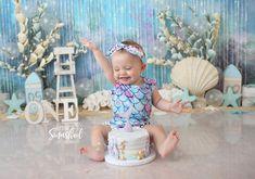 Toddler Birthday Themes, Baby Girl Birthday, Baby Cake Smash, Birthday Cake Smash, 1st Birthday Photoshoot, Cake Smash Photography, Mermaid Cakes, Cake Smash Photos, First Birthdays