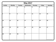 May 2017 monthly calendar template