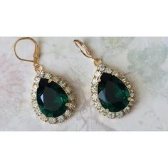 Swarovski Emerald Crystal Jewelry Crystal Rhinestone Jewelry Emerald... ($41) ❤ liked on Polyvore featuring jewelry, earrings, rhinestone jewelry, crystal earrings, emerald green earrings, emerald teardrop earrings and teardrop shaped earrings