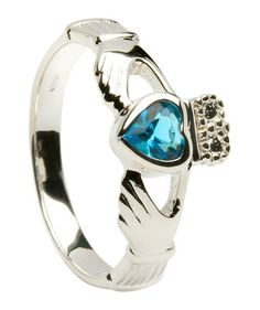 Irish Celtic Claddagh CLADDAUGH Ring Handcrafted Sterling Silver w faceted Blue Topaz stone The Irish Claddagh symbolizes Love Loyalty and Friendship The Claddaghs distinctive design features two hands clasping a Silver Claddagh Ring, Claddagh Rings, Swarovski Jewelry, Sterling Silver Jewelry, Silver Earrings, Irish Rings, Girls Jewelry Box, Irish Jewelry, Blue Topaz Ring