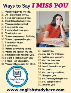 30 Different Ways to Say I Miss You in English - English Study Here English Sentences, English Idioms, English Phrases, Learn English Words, English Study, English Lessons, English English, Speak In English, Learn English Speaking