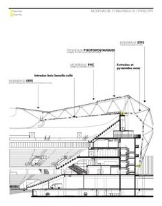 Gallery of Willmote Allianz Rivera / Wilmotte & Associés Sa - 51 Stadium Architecture, Roof Architecture, Architecture Drawings, Architecture Details, Rivera, Space Frame, Construction Drawings, Roof Detail, Roof Structure