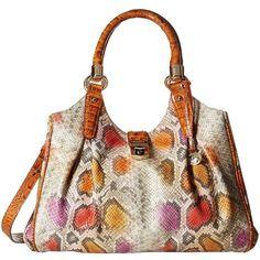 Brahmin Elisa (Dark Rum) Handbags (£305) ❤ liked on Polyvore featuring bags, handbags, shoulder bags, handbags purses, hobo shoulder bag, shoulder strap handbags, shoulder strap bag and white shoulder bag