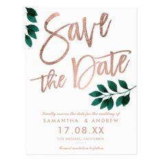 Rose gold script green leaf white save the date postcard - chic design idea diy elegant beautiful stylish modern exclusive trendy