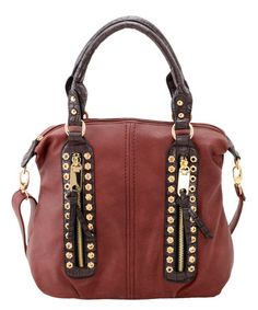 This Wine & Gold Double-Zip Convertible Tote is perfect! #zulilyfinds